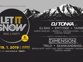 RIDE & PARTY!Jedinečný festival LET IT SNOW 2019 opäť prináša do zimného strediska Jasná zástup svetových DJov.