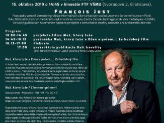 Na Slovensku bude prednášať významný francúzsky teoretik filmu François Jost auvedie aj svoju knihu.