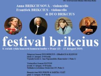FESTIVAL BRIKCIUS - 8. ročník cyklu koncertů komorní hudby v Praze (13. - 15. listopad 2019).