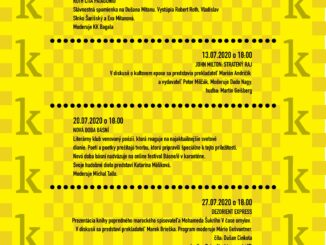 Nová doba básní:V pondelok 20. júla o 18:00 na nádvorí v Zichyho paláci na Ventúrskej 9 v Bratislave.