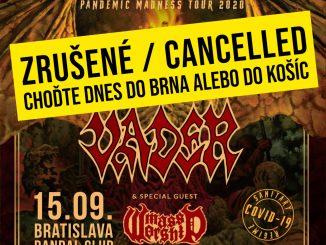 VADER v Bratislavě - DŮLEŽITÉ UPOZORNĚNÍ!